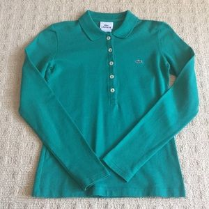 Green Lacoste, size 34, long sleeve